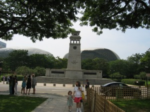 Memorial with the big durians in the background