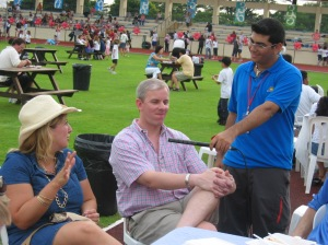 John and DeeDee being interviewed by a student