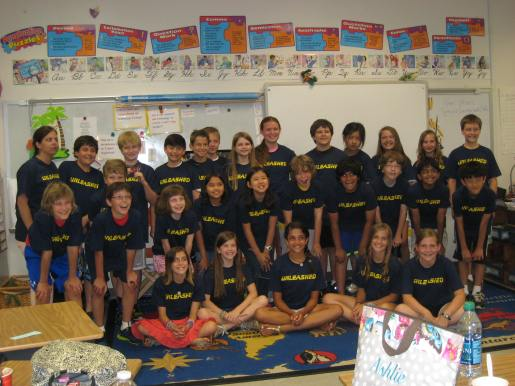 The class in their new shirts