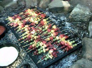 Fruit kabobs and dip