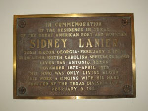 Heath was interested in this plaque at Lake Lanier near us was named after Sydney Lanier.
