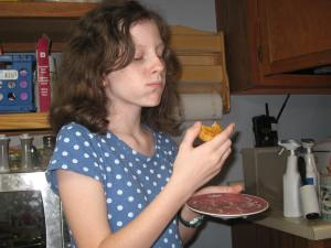 Katy trying a mooncake for the first time