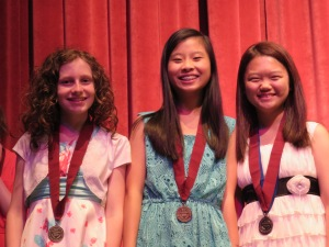 Katy, Amie and Diane. Diane has two medals as she received and state and national recognition.