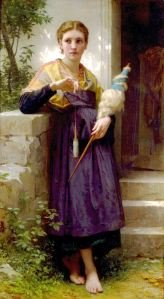 Maiden with drop spindle (photo of painting swiped from internet)