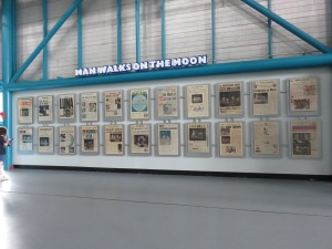 Wall of newspapers.