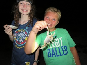 Katy and her shells and Evan with a crab