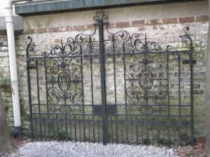 I really wanted to see this gate. Daisy made it while living in England. She got very into iron work one year and when the London social season came around the muscles in her arms had built up so much the sleeves on her gowns were too tight!