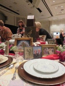 My place setting with pictures of both of my grandmothers.