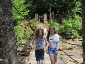 Walking across the swinging bridge