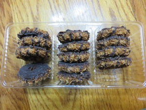 LBB Samoas (photo taken after we ate a couple of cookies.)