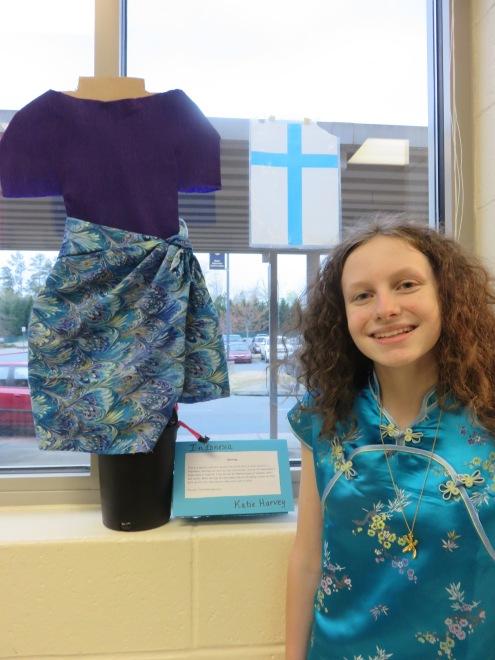 Katy with her sarong creation.