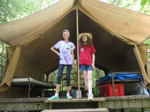 Katy and one of her tent mates Zoe. The other two hadn't arrived yet.