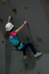 On the rock-climbing wall.