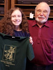 Katy and Mr. Huthmaker with the t-shirt.